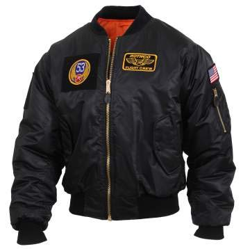 Rothco MA-1 Flight Jacket with Patches, Black, L