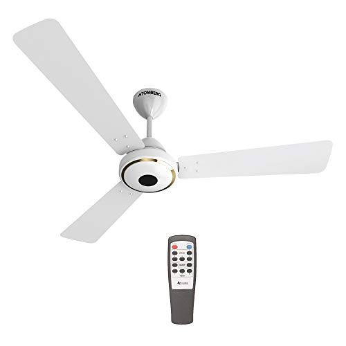 Atomberg Studio 1200 mm BLDC Motor with Remote 3 Blade Anti-Dust Ceiling Fan(Pearl White, Pack of 1)