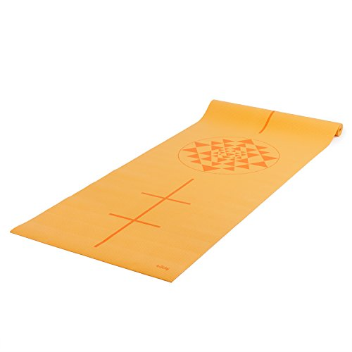 Tapete de yoga pvc ecológico, estampado Leela Yantra, com alinhamento, indicado para iniciantes, para ginástica e pilates, 4.5mm de expessura (Amarelo)