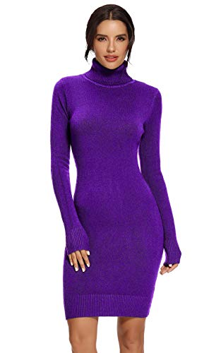 Avacoo Damesjurk, gebreide trui-jurk, elegante gebreide jurk, rolkraag, lange mouwen, tuniek, midi-jurk