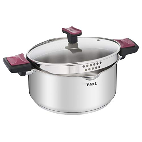 T-fal Stainless Steel with Easy-Lock System Cook & Clip, 5-Quart, Silver
