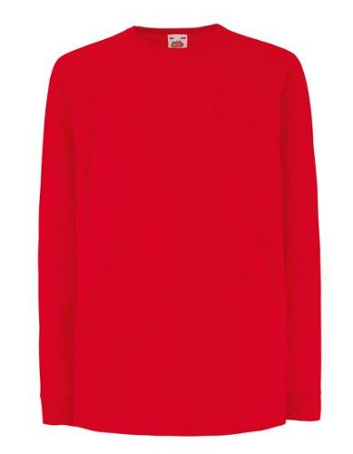 Fruit of the Loom - Camiseta de manga larga para niños, color rojo, para 9 a 11 años