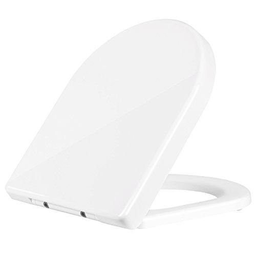 HOMFA Tapa y Asiento WC Unicersal Cierre Suave y Bajada Lenta Tapa de Inodoro con Freno de Plástico Duro en Forma de D de Color Blanco 45x36.5x5.2cm