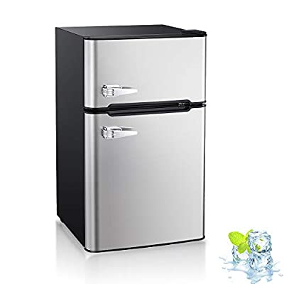 Kismile Double Door 3.2 Cu.ft Compact Refrigerator with Top Door Freezer,Freestanding mini Fridge with Adjustable Temperature,Upright Freezer for Apartment,Home,Office,Dorm or RV (Silver)