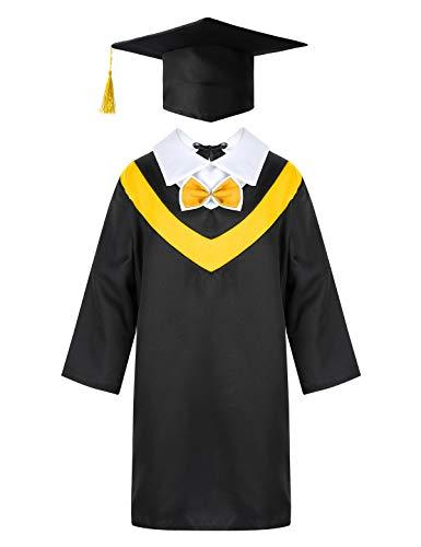 Alvivi Unisex Akademischer Abschluss Talar Robe mit Doktorhut Quaste Graduation Robe Mantel Komplett-Set für Jungen Mädchen Cosplay Karneval Party Gelb 128-140/8-10 Jahre