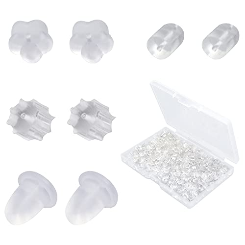 4 Style Silicone Earring Backs, Soft Clear Safety Rubber Earring Backs, Ear Stopper Replacement for Earring Studs, Ear Hook, Each Style Sold by 100 Pairs