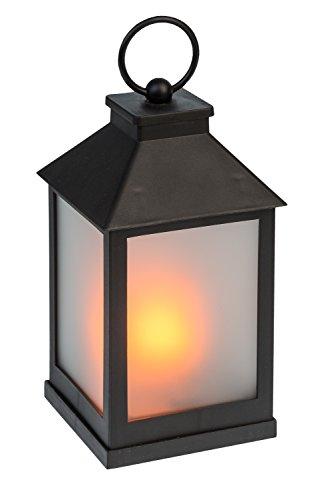 Idena 31094 - Laterne mit 36 LED in flackernder Flammenoptik, mit 6 Stunden Timer Funktion, Batterie betrieben, für Hochzeit, Party, Deko, Weihnachten, als Stimmungslicht, ca. 10 x 10 x 22 cm