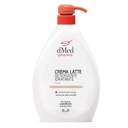 dMed pharma Crema Latte Detergente Idratante - Detergente Delicato senza Risciacquo - 1000 ml