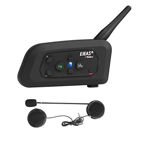 EJEAS V4 Pro Auriculares Bluetooth para Motocicleta, para 4 Motociclistas 1200 m, Intercomunicador de Motocicleta con Reducción de Ruido DSP, Respuesta Automática de Llamadas para Motocicleta, Esquí