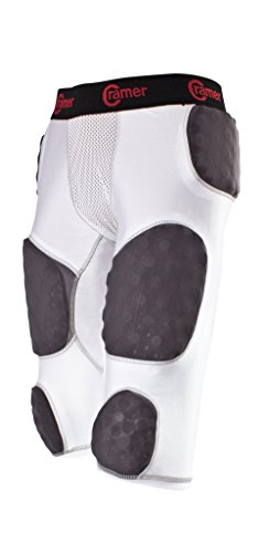 Cramer Skill 7 Pad Football Girdle With Integrated Hip, Thigh and Tailbone Pads, Lightweight Collegiate Football Girdle Designed for Speed, Moisture-Wicking and Anti-Bacterial Fabric, White, X-Large