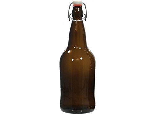 1 Liter EZ Cap Amber Glass Bottles w/Swing Tops