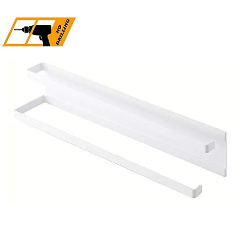HYCZW Handtuchhalter Magnetischer Handtuchhalter Toilettenfreilochung Zweipolige Toilette Badezimmer Küche Haken Lagerregal Größe 40 * 8cm,White