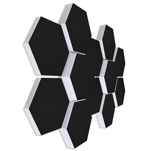 platino24 Schallabsorber 3D-Set aus Basotect G+ mit Akustikfilz in Schwarz, 12 Elemente: je Ø30cm Wabe, Verbesserung der Raumakustik