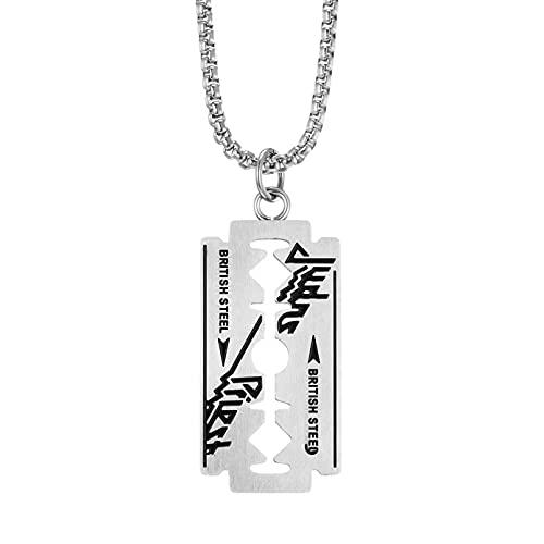 SOTUVO Collar de Acero Inoxidable de Moda para Hombre, Colgante con Hoja de Afeitar, Collares Retro Punk de Hip-Hop, joyería Masculina Fresca