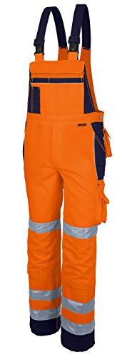 Qualitex Warnschutz-Latzhose Arbeits-Hose PRO MG 245 - orange/marine - Größe: 54