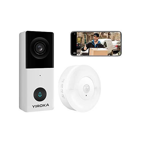 YIROKA Video Türklingel mit Kamera WLAN 2 Draht, Alexa/Google-Assistent, Smart Life/TuyaSmart APP, HD 1080P, 2,4G WiFi Gegensprechanlage, Cloud-Speicher, Max. 128GB SD Karte, mit Türklingelempfänger