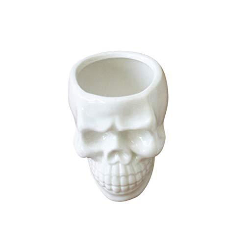 Vosarea White Ceramic Skull Shaped Succulent Planter Pots,Cute Cactus Plant Pot Creative Pen Pencil Holder