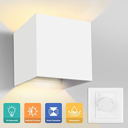 Yissvic Wandleuchte Wandlampe 7W LED Dimmbar Wandbeleuchtung einstellbar Abstrahlwinkel Wasserdichte IP65 Up Down Design 2700K Warmweiß