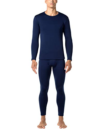 LAPASA Men's Heavyweight Thermal Underwear Long John Set Fleece Lined Base Layer Top and Bottom M24 Navy