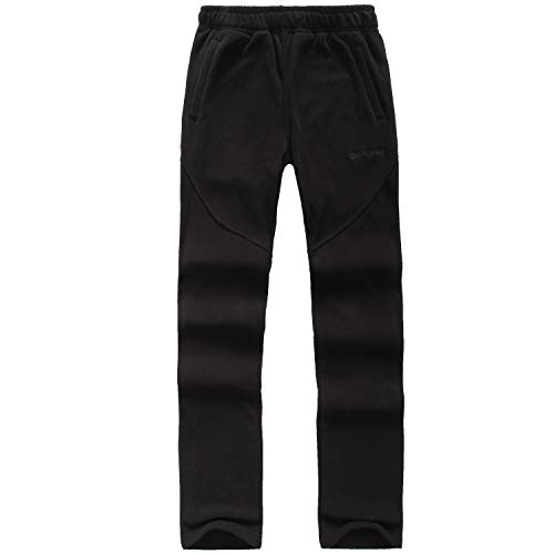 FLYGAGA Fleece Hose Freizeithose Outdoorhose Damen Warm Winddichte Antistatisch Anti-Pilling Winterhose Funktions Outdoor Sport Hose Herbst Winter (Schwarz, M)