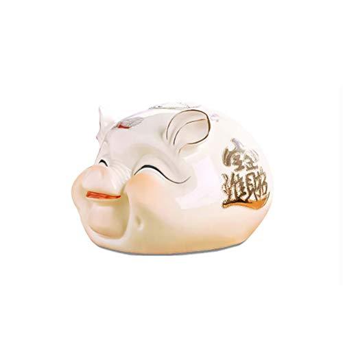 LALAWO Cun qian guan Regalo Creativo hogar Apertura Fortuna Pantalla Adultos niños cerámica Cerdito Moneda Hucha (Tamaño : S)