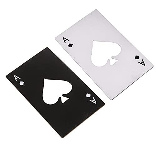 YngFfb Apribottiglie Poker, 2 PCS Apribottiglie In Acciaio Inox, Apribottiglie a Forma Di Poker Apribottiglie Da Birra Portatile Formato Carta Di Credito Per Forniture Per Feste Da Bar