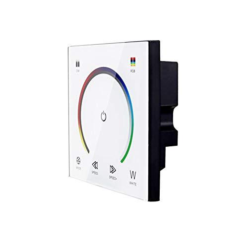 Ranpo Regulador de intensidad LED montado en la pared, modulador de interruptor de panel táctil, control de color, para bombilla RGB 5050 3528 tira de luces, DC 12-24V