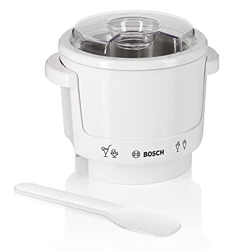 Bosch Eisbereiter MUZ4EB1, Speiseeisbereiter, 550ml, selbstgemachtes Eis, Sorbet und Frozen Yoghurt, Original-Zubehör passend für Bosch MUM4 Küchenmaschinen, Aufsatz, weiß