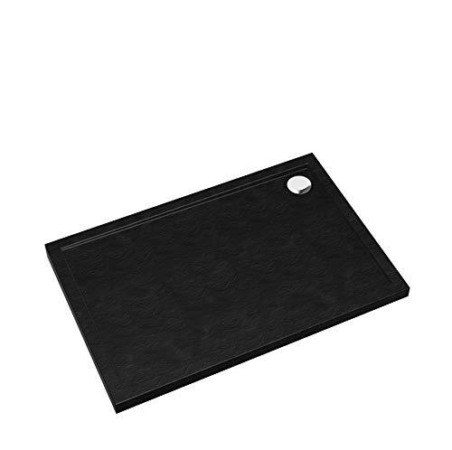 Plato de ducha negro piedra cuadrada rectangular cuarto círculo plato de ducha Black Stone efecto piedra (80 x 120 x 4,5)