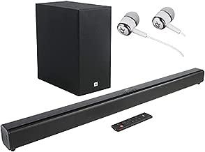 JBL Cinema SB160 2.1 Channel 220 Watt Wireless Bluetooth Music Streaming HDMI ARC Soundbar with Wireless Subwoofer Bundled with Earbuds