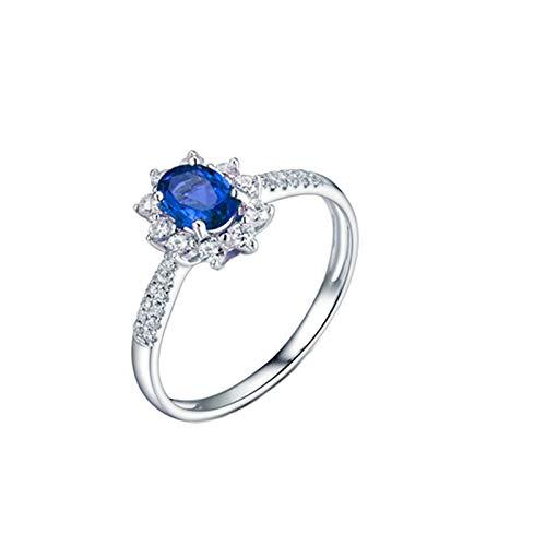 Beydodo Anillo de Compromiso Para Mujer,Anillos de Compromiso Mujer Oro Blanco 18K Plata Azul Oval Flor Zafiro Azul 0.85ct Diamante 0.26ct Talla 12(Circuferencia 52MM)