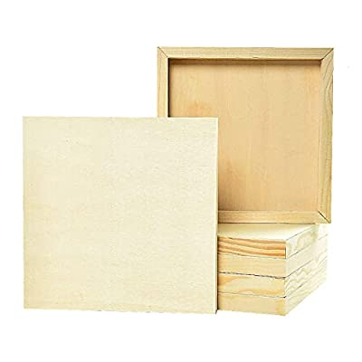 """Pomeat 6Pcs 8"""" x 8"""" Wood Panels, Birch Wood Boards Unfinished Wood Canvas Cradled Panel Boards for Painting, Drawing and Arts & Crafts"""