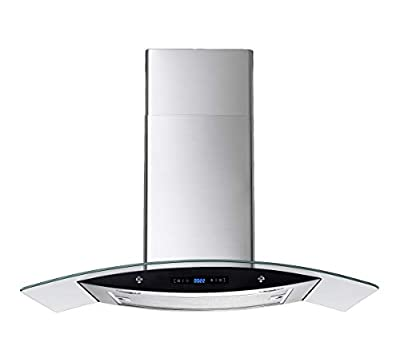 Winflo 30 In. 520 CFM Convertible Stainless Steel/Glass Wall Mount Range Hood with Mesh Filter and Touch Sensor Control
