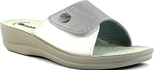 inblu Ciabatte, Pantofole Donna MOD. VR-45 Velcro Argento Linea Benessere (37 EU)