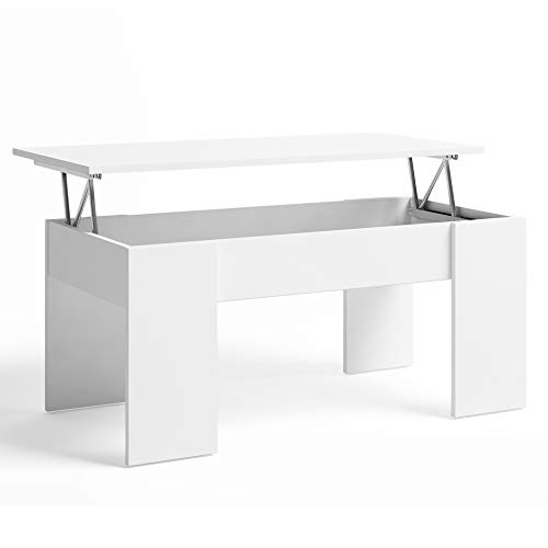 VS Venta-stock Mesa de Centro elevable, Comedor o Auxiliar, Mayor Grosor y Estabilidad, Color Blanco, Revistero Incorporado, 100 x 50 x 45 cm