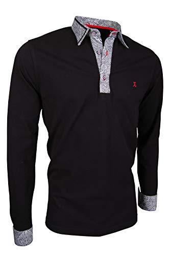 Giorgio Capone Premium-Langarm-Poloshirt, einzigartiger Hemdkragen & Manschetten, Pique-Stoff 100% Baumwolle, Schwarz (L)