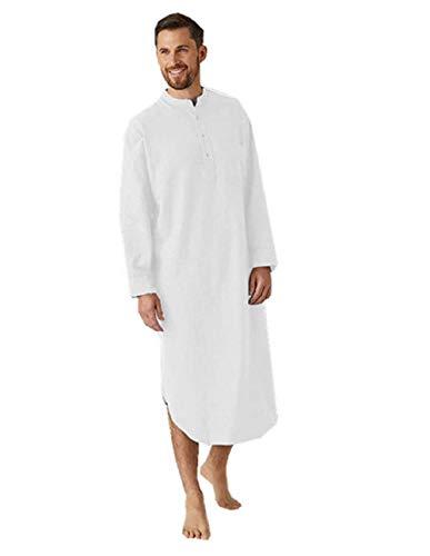 Männer Muslimische Kleider Kaftan - Islamische Kleidung Herren Islamische Kostüm mit Rundhals und Knopfleiste Nachthemd Herren Lang Einteiliger Schlafanzug (Weiß, L)