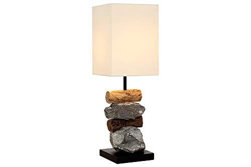 *DuNord Design Tischlampe Tischleuchte Treibholz Schwemmholz Stein NATURA weiß Naturholz Unikat*