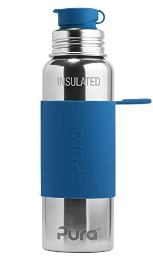 Pura Sport Edelstahl isolierte Sportflasche mit Silikon Sleeve und Big Mouth Sport Trinkverschluss 600 ml, plastikfrei Blau