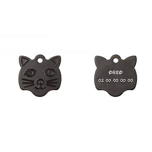 Decoho Anhänger in Katzenform, Farbe Schwarz, personalisierbar auf 1 bis 2 Linien (22 mm x 23 mm)