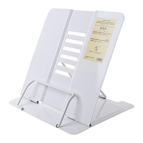 Portable Metal Adjustable Reading Book Holder Support Document Shelf Bookstand (Color : White)