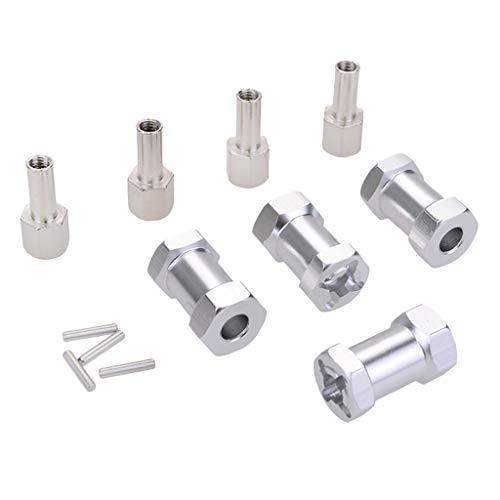 Baoblaze 4pcs 12 mm Radnaben 20mm Verlängerung Hex Adapter Stecker für 1/10 RC Auto - Silber