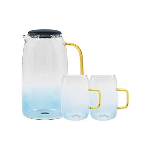 Teteras teapot Tetera de cristal de borosilicato conjunto con la cubierta Copas de Oro asa for jugo de frutas y botella de agua de la jarra de té del café de la maceta olla grande, color del gradiente