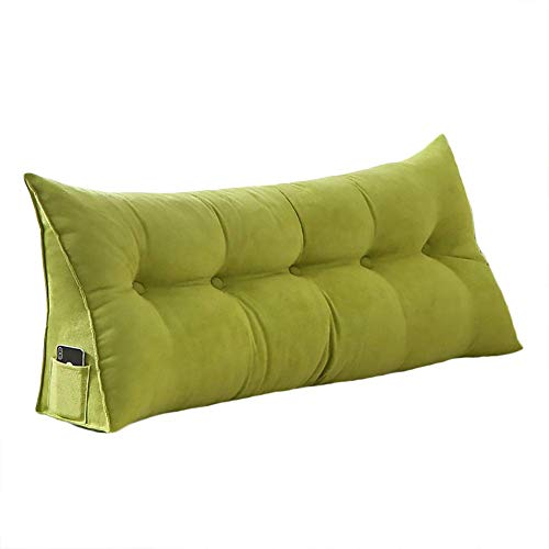 Triangular Cushion for Sofa Bed Headboard Backrest Positioning Support Neck Pillow Reading Pillow Lumbar Pad with Removable Cover Green 71x8x20inch