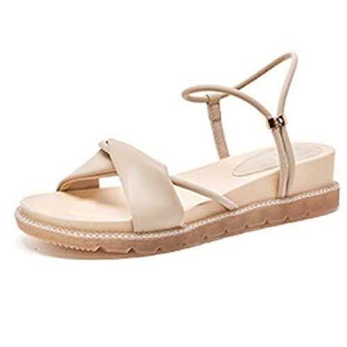 Sandalias de plataforma de vacaciones Peep Toe Bow-knot Vamp moda tobillo correa antideslizante zapatos de vestir para mujer, color, talla 37 EU