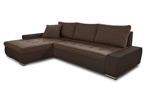 Ecksofa mit Schlaffunktion Faris - Couch mit Bettkasten, Big Sofa, Sofagarnitur, Couchgarniitur, Polsterecke, Bett (Braun + Braun (Madryt 128 + Inari 24), Ecksofa Links)