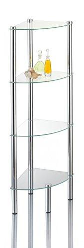 Ribelli Stand-Eckregal 'Kalundborg', Standregal für Bad & WC mit 4 Glasböden, rostfreies Badregal aus Glas & Chrom, Eck-Regal mit Wandmontage für festen Stand ca. 30 x 30 x 108 cm, Silber