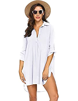 Ekouaer Women's Bathing Suit Cover Up Beach Bikini Swimsuit Swimwear Dress Medium White
