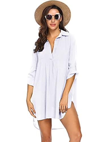 Ekouaer Women's Beachwear Bikini Swimwear Beach Club V-Neck Sexy Cover Up Skirt Bathing Suit, Large White