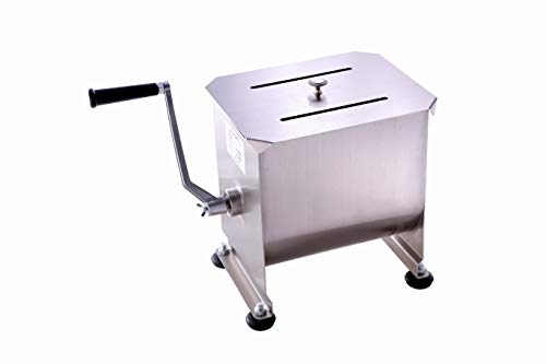Commercial Stainless Steel Manual Meat Mixers with lid,20Lb/10L Fixed Tank,(Mixing Maximum 15Lb for Meat),Sausage Mixer Machine Meat Processing Equipment